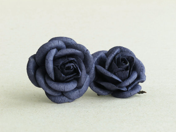 Wedding - 50mm Large Navy Blue Roses (2pcs) - mulberry paper roses with wire stems - Great for wedding decoration and bouquet [174]