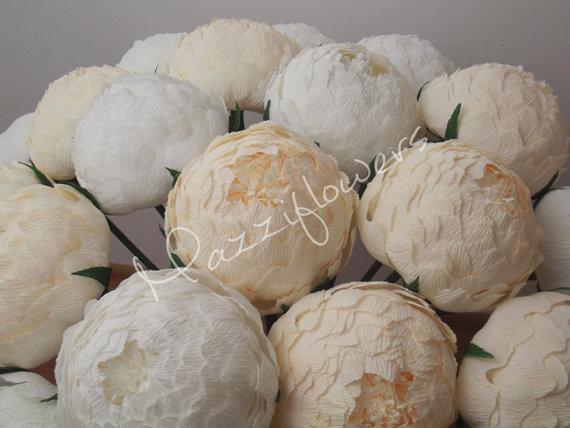 Wedding - Wedding flowers,wedding bouquet,wedding peonies,paper flower bouquet,ivory peonies 10 pcs,paper flowers,bridal flower,peonies bouquet,