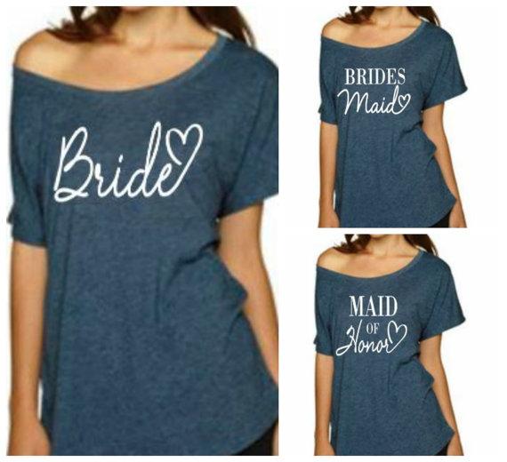 9213e814ec471 Bride T-Shirt, Bridesmaid Shirt, Maid of Honor Shirt Sweatshirt. Wedding,  Bachelorette Party.