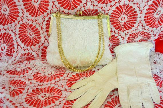 Wedding - Vintage Richere Beaded Handbag Ivory Clutch Purse Collectibles Handmade accessories antique evening wedding fromal prom women gold