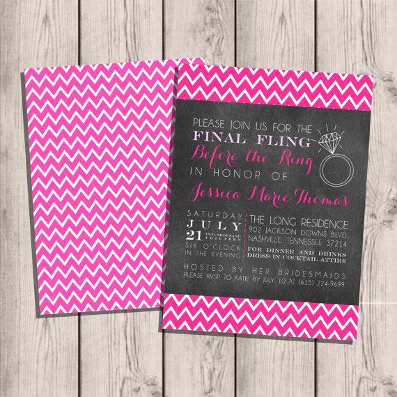 Wedding - Bachelorette Party Invitation Custom, Final Fling Before the Ring, Chevron & Chalkboard Double-Sided 5x7