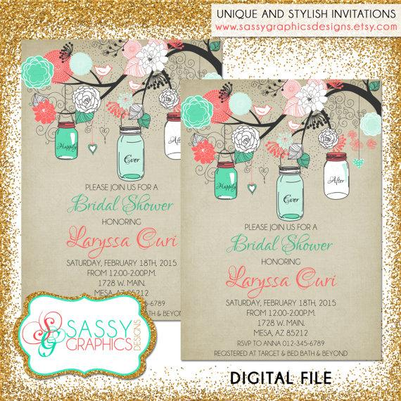 rustic bridal shower invitation bridal shower invite mason jar shower invite mint coral and tan printable digital file 31