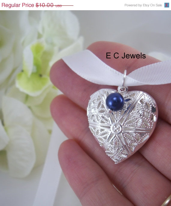 Wedding - ON SALE Something Blue Single Pearl Filigree Heart Locket Bouquet Charm