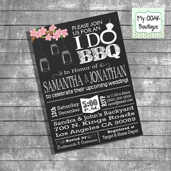 Chalkboard Engagement Party Invitation Printable By: Couples Shower Invitation Engagement Party I Do BBQ
