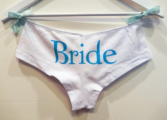 زفاف - Bridal Bootie Shorts-Something Blue-Custom Hand screen print Cotton Satin lined Boy Short-