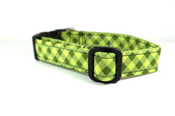 زفاف - Gingham Dog Collar - Green Tonal Gingham Dog Collar / Boy Dog Collar / Green Dog Collar / Wedding Dog Collar