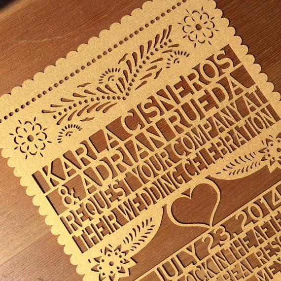 laser cut invitation - papel picado inspired wedding 5x7 card, Wedding invitations