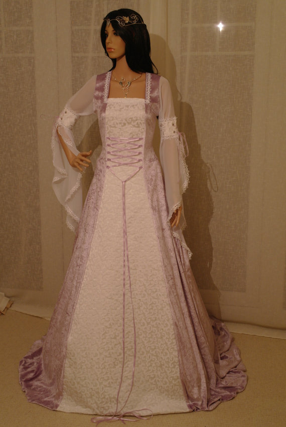 Medieval lilac and white handfasting renaissance wedding for White and lilac wedding dress