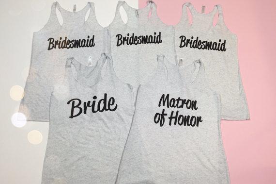 5 Bridesmaid Shirts Bridesmaid Tank Top Bride Shirt
