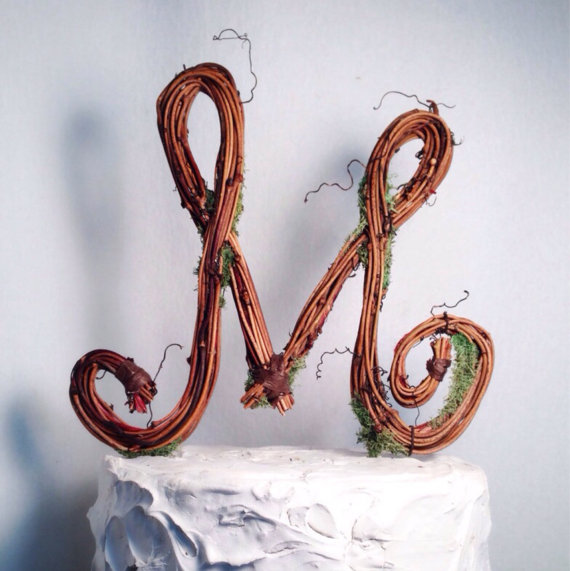 Wedding Cake Toppers Letter M : Rustic Wedding - Letter M Rustic Twig Wedding Cake Topper ...