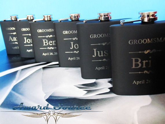 Wedding - Groomsman Gift - Groomsmen Gift - Wedding Party Gift - Groomsman Flask Set ~With Free Engraving~ 6 oz Black Stainless Steel Flask