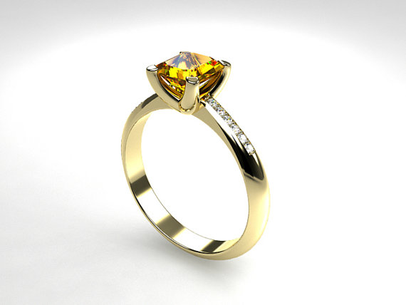 Свадьба - 1.29ct Yellow sapphire ring, diamond ring, white gold, yellow gold, sapphire engagement, emerald cut, yellow sapphire solitaire, wedding
