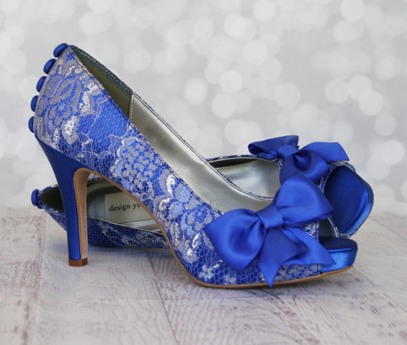 Свадьба - Wedding Shoes -- Royal Blue Platform Peep Toe Custom Wedding Shoes with Silver Lace Overlay, Bow and Buttons