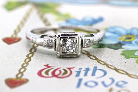 زفاف - SALE Antique Engagement Ring