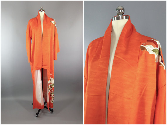 Свадьба - Vintage Kimono / Silk Kimono Robe / Dressing Gown / Long Robe / Wedding Lingerie / Downton Abbey / Art Deco / ORANGE FANS