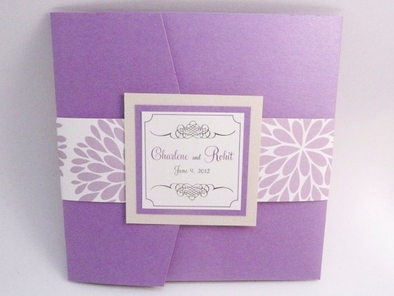 Свадьба - Lavender Wedding Invitation / Purple Wedding / Hydrangea Pocketfold Sample