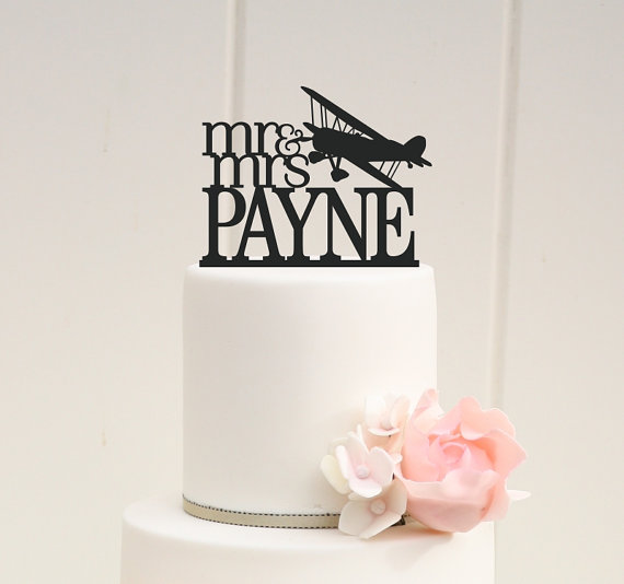 Airplane Wedding Cake Topper Mr And Mrs Biplane With Your