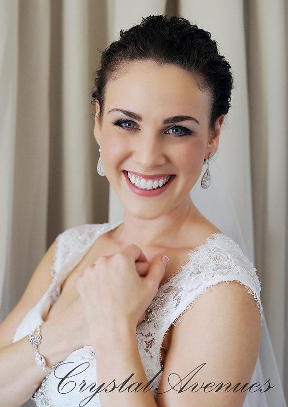 Свадьба - Bridal Earrings,  Crystal wedding earrings, Swarovski Bridal Jewelry,  Bridesmaids, Adison Bridal Earrings