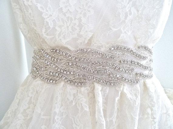 "Свадьба - 2"" wide Bridal crystal sash, crystal belt, wedding belt, beaded wedding belt, - WAVERLY DELUX - ships in 1 week"