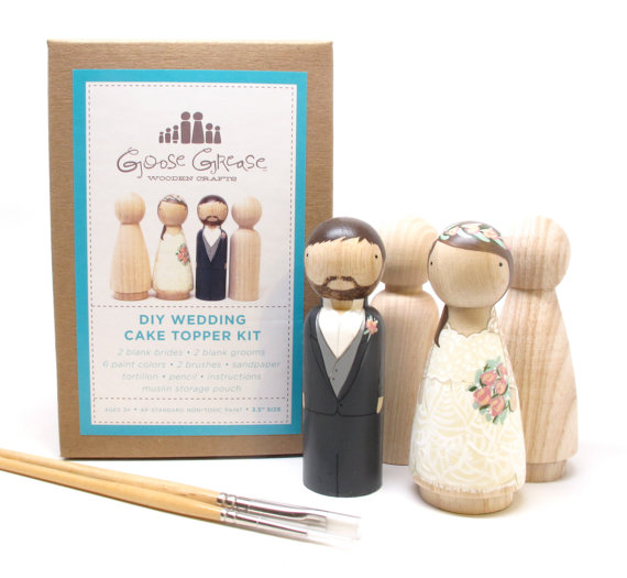 زفاف - Peg Doll Wedding Cake Toppers Bride/Groom  Wedding Decor  Kit  DIY Cake Toppers with Extra Couple - Wooden Dolls