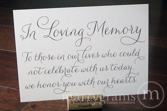 In Loving Memory Sign Table Card