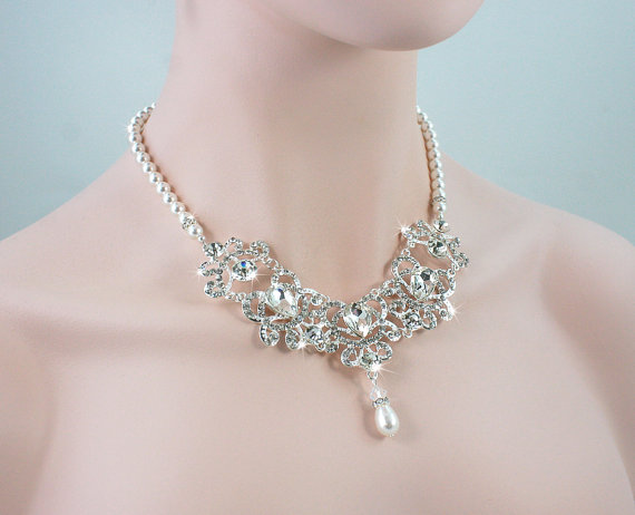 Mariage - ELLE - Wedding Necklace, Bridal Necklace, Pearl Necklace, Bridal Jewelry, Swarovski Pearl, Crystal Necklace