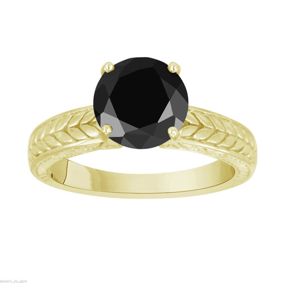 Mariage - Fancy Black Diamond Solitaire Engagement Ring 14k Yellow Gold 1.05 Carat Vintage Antique Style Engraved HandMade