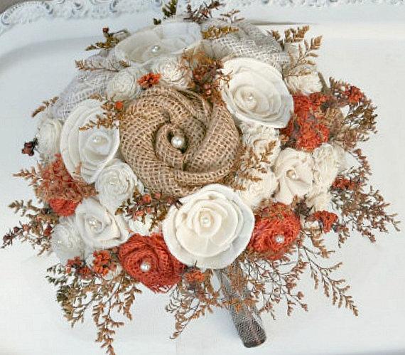 Wedding - Full Sized Orange Rustic Autumn Wedding Heirloom Bride's Bouquet - Sola Wood, Wildflowers, Fabric  Flowers, Burlap Flowers, Burlap Bouquet