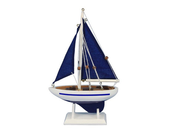 Pacific sailer blue 9 sailboat wedding cake topper sail for Decoration yacht