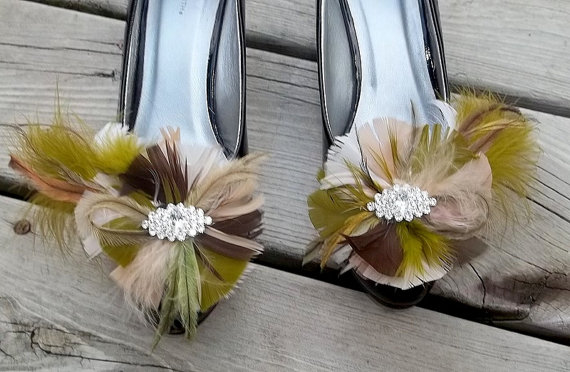 Mariage - Wedding Shoe Clips - Camouflage Feather Shoe Clips Navette Rhinestones green brown taupe tan Bridal Wedding