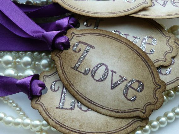 Wedding Favor Ribbon Tags : Wedding - Wedding Favor Tags Purple - Vintage Style - Set Of 50 Labels ...