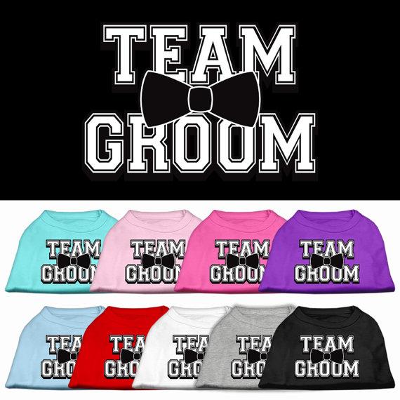 "Wedding - Screen Printed Dog Shirt, ""Team Groom"""