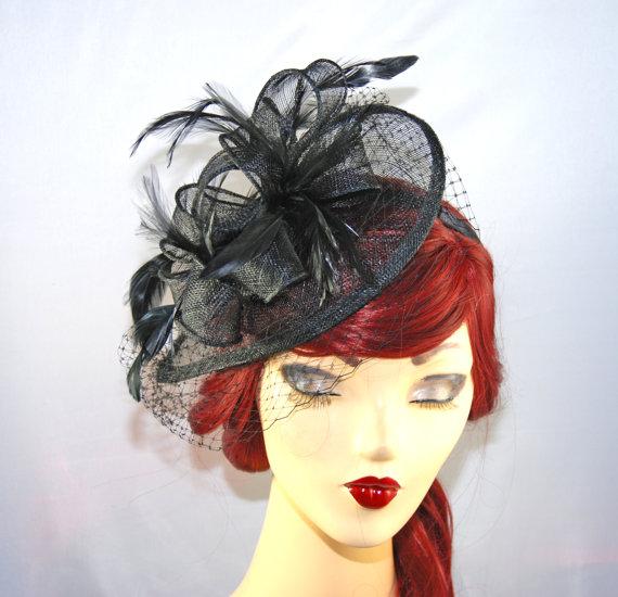 Mariage - Black Fascinator Headband with Veil Netting - Kentucky Derby Hat - British Tea Party Fascinator - Church Hat - Wedding Fascinator Hat