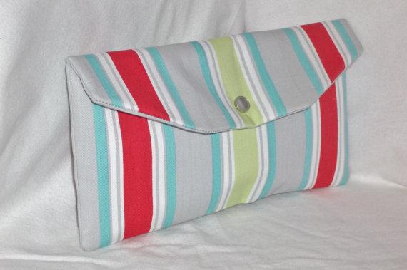 Mariage - Bridesmaid Clutch/ SALE /Bridesmaid Gift/Envelope Clutch/Purse/Evening Bag/Wedding Party/Premier Prints- Morgan Stripe Harmony