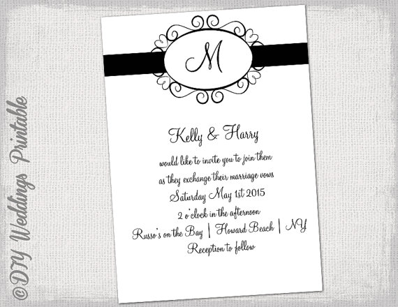 Wedding Invitation Template Black And White Hearts Monogram
