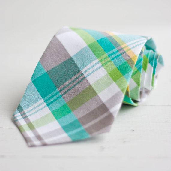 Mariage - The Beau- men's aqua/grey/lime plaid necktie