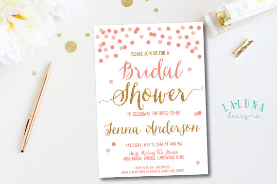 bridal shower invitation confetti bridal shower invite glitter invitation pink gold invitation diy printable