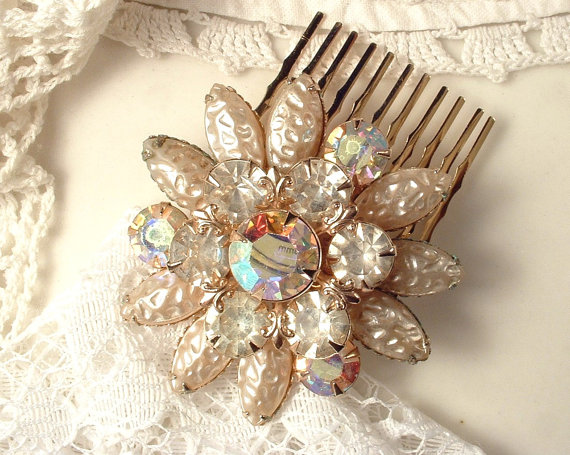 Wedding - Vintage Sash Pin OR Hair Comb, Ivory Baroque Pearl & Champagne Rhinestone Gold Bridal Round Brooch / Haircomb, Rustic Chic Country  Wedding