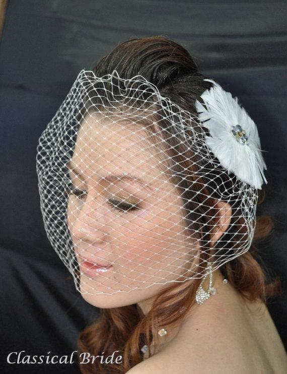 "Mariage - Bandeau 902 -- VEIL SET w/ RHINESTONE Feather Hair Fascinator Clip & Ivory or White 9"" Birdcage Blusher Veil for bridal wedding accessories"