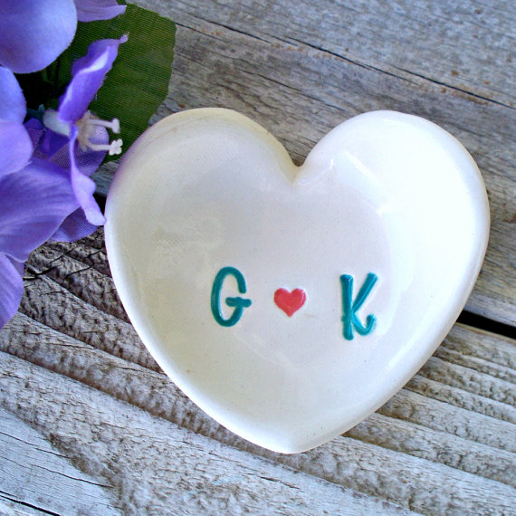 Heart shaped ring dish monogramed ring dish ring bowl for Heart shaped jewelry dish