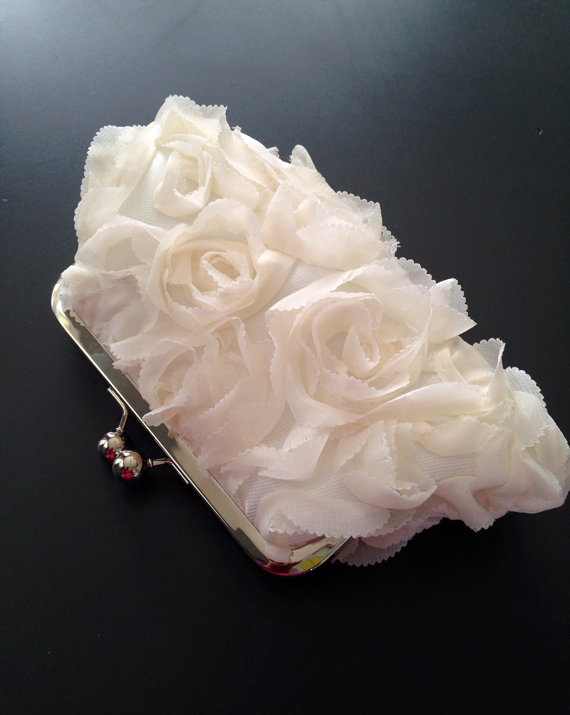 Hochzeit - Fairy Tale Wedding - Rosette Ivory Clutch