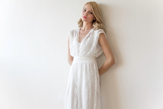 Maxi Wedding Vintage Style Lace Dress, Embroidered Sequins Wedding ...