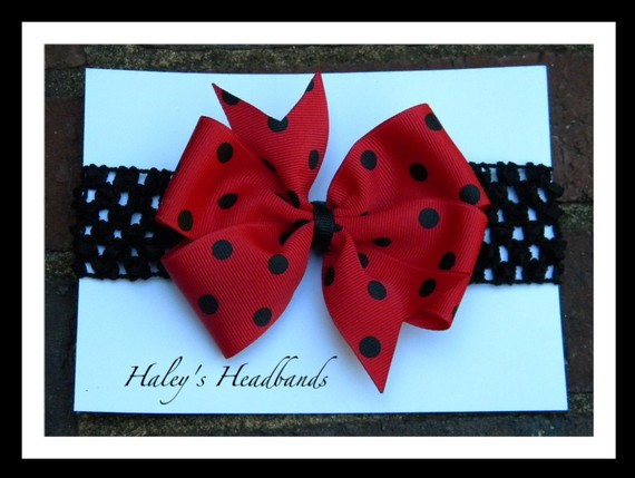 Свадьба - Made to Match Georgia Bulldogs Red and Black Polka dot Bow Stretch Headband