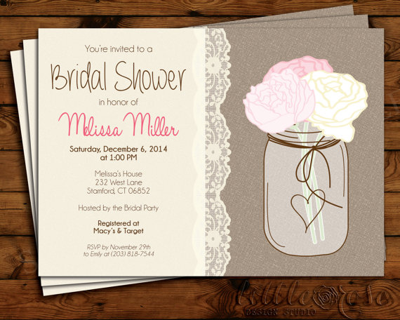 bridal shower invitation wedding shower invite bridal brunch mason jar invitation burlap baby shower birthday printable invite