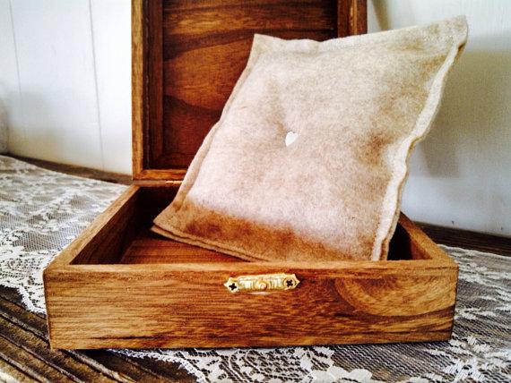 Wedding Ring Box Rustic Wood Alternative Ring Bearer Box Square