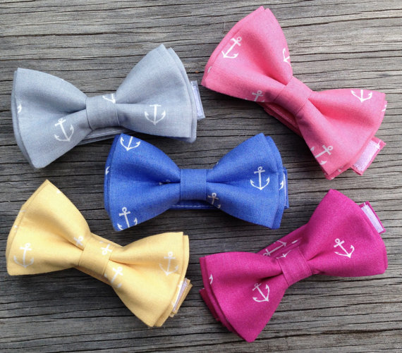 Hochzeit - Nautical Bow Tie - Nautical Wedding - Anchor Bow Tie - Fuchsia Bow Tie - Matching Groomsmen's Ties - Ringbearer Bow Tie - Delta Gamma