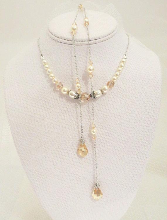 Свадьба - Wedding Backdrop Necklace, Back Drop Bridal necklace, Swarovski crystal Backdrop necklace, Wedding jewelry, Golden shadow, Double backdrop