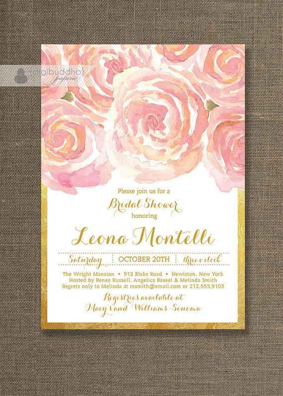 391ebe0b7223 Blush Pink Gold Bridal Shower Invitation Roses Shabby Chic Ranuncula Flower  Metallic Wedding FREE PRIORITY SHIPPING or DiY Printable- Leona