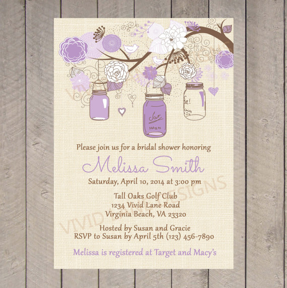 bridal shower invitation  purple mason jars, lavender jars, Bridal shower invitations