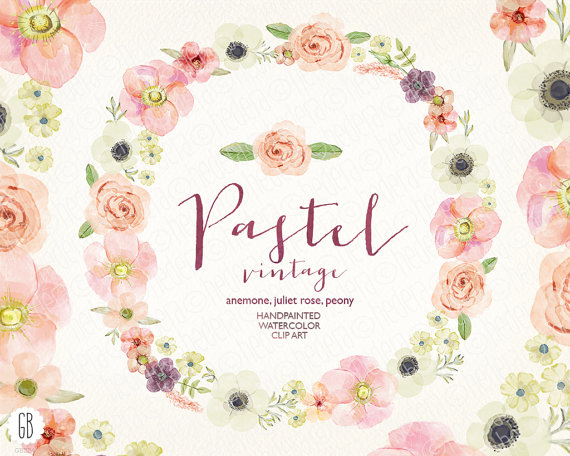 Mariage - Watercolor pastel wreath, juliet roses, anemone, peony, wedding flowers, bouquet florals, floral clip art, vintage invite, diy stationery